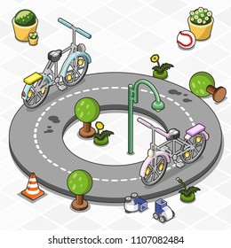 Two little toy bicycles riding around a circular track, decorated with miniature trees, lantern and roller skates (vector illustration, isometric)
