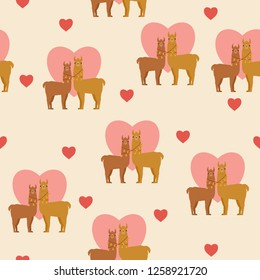Two llamas in love. Romantic Valentine's Day seamless pattern