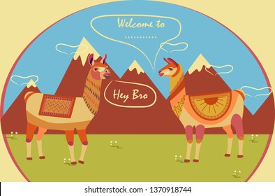Two llamas on a background of mountains. Place for inscription: Welcome to. Tourist poster. Stylized animal character of South America.