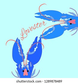 7b9021dd3 Two lobsters in love funny valentines day vector illustration couple blue  lobster
