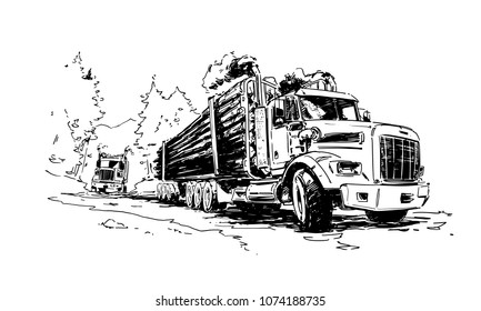 Two Logging trucks on the forest road. Hand drawn sketch