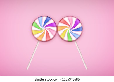 Two Lolipops candy on pastel pink background. Concept of Love. Vector Illustration.