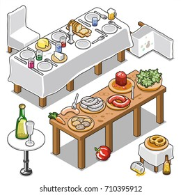 Two long tables laid for dinner or barbecue buffet, with tableware, drinks, bread, cheese and sausage, including pretzel and champagne (isometric vector illustration)
