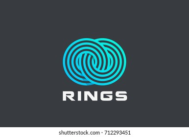 Two looped Circle Rings Logo design vector template Linear style. Infinity Eternity Loop symbol Logotype concept icon
