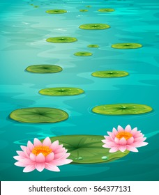 Two lotus flowers and leaves on water illustration