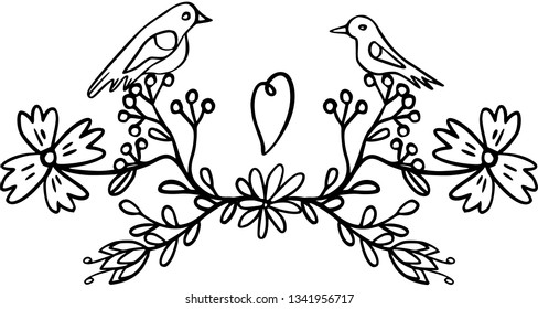 Two love birds sitting on a flowering branch. Vector.