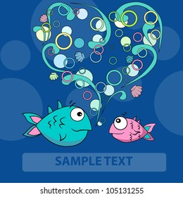 Two Love fishes  and bubble heart