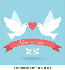 Two lovely doves with heart. Wedding invitation card with doves. Love scene illustration.