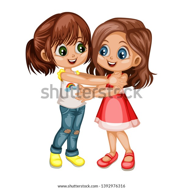 Two Lovely Happy Best Friends Girls Stock Vector Royalty Free 1392976316