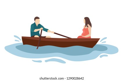 Two lovers in the boat, a man and a pregnant woman. Cartoon style flat illustration.