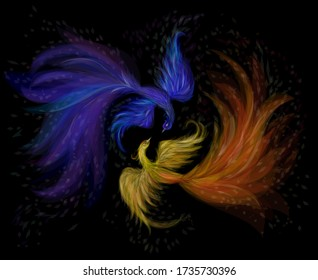 Two lovers firebirds on a black background, vector illustration. Fairytale birds phoenixes of blue and fiery color. Folklore. Beautiful decorative illustration.
