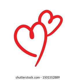 Two lovers hearts. Love symbol. Double heart doodle.