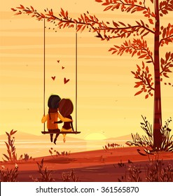 Two lovers sitting on a swing at sunset on the ocean. Modern design stylish illustration. Retro flat vector background. Valentines Day Card.