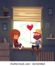 Two lovers sitting on the windowsill in an apartment. Through the window the sun is shining. Modern design stylish illustration. Retro flat vector background. Valentines Day Card.