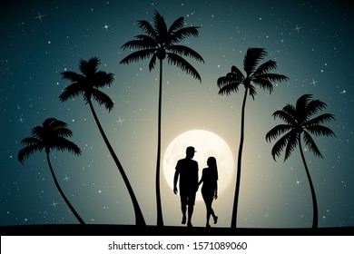 Two lovers walk on palm beach on moonlit night. Vector illustration with silhouettes of loving couple and tropical trees. Full moon in starry sky