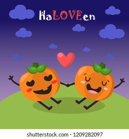 Two loving pumpkins on Halloween met in the evening!Vector pumpkin