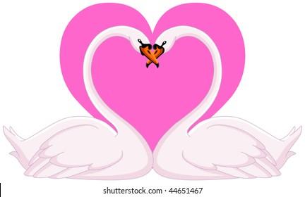 Two loving swans