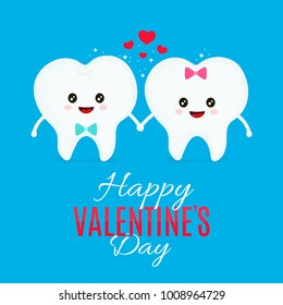 Two loving teeth. Vector flat cartoon illustration character icon design. Isolated on white background. Valentine's Day lovers, card, tooth concept