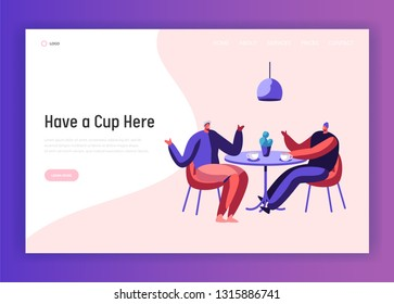 Two Male Businessman Colleague Chatting during Cup of Coffee or Tea Break at Cafe Table Landing Page. Man Friend Dialog Guy Meeting Website Template. Flat Cartoon Vector Illustration