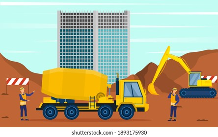 Two male characters standing next to concrete mixer on construction site. Men in uniform working on building construction. Flat cartoon vector illustration