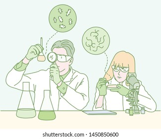 Two male scientists in the laboratory are studying microorganisms. hand drawn style vector design illustrations.