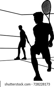 Two male squash players playing a match vector