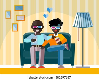 Two man Afro-American friends watch a movie in 3D glasses. Aframerican Gay couple smiling, relaxing, eating corn and drinking soda. High tech 3d tv for Home - concept in flat design style