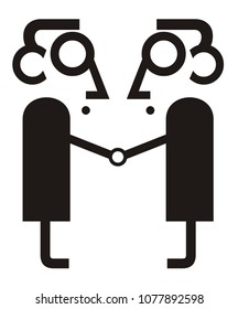 Two man, business, partnership and handshake isolated illustration. Two men come to terms and shake hands icon black on white vector