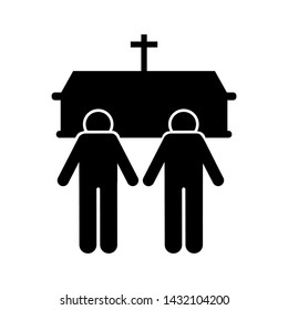 Two man coffin death funeral icon. Element of pictogram death illustration