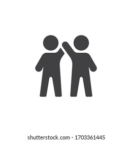 Two man greeting vector icon. filled flat sign for mobile concept and web design. Friends giving each other a high five glyph icon. Symbol, logo illustration. Vector graphics