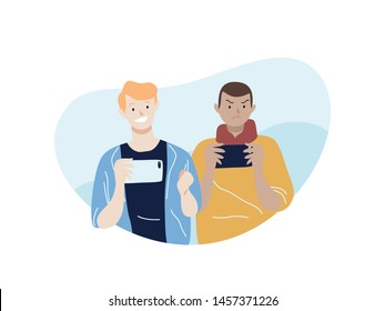 Two man playing mobile games on their mobile phone. Mobile apps illustration concept.