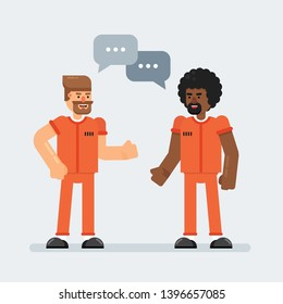 Two man prisoner friends talk to each other in prison dressed in orange jumpsuit uniform. Flat cartoon vector illustration.