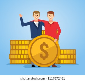 Two man stands near stack of big golden coins. Business income, savings concept. Flat style vector illustration