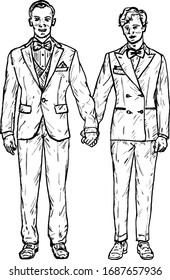 Two man in tuxedo and bow tie holding hands for the concept of gay marriage. Hand drawn vector illustration.