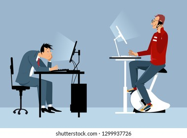 Two man working at the office on the computers, one of them using a stationary bicycle desk, vector illustration