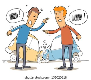 two mans debate who is to blame in a car crash. Cartoon illustration