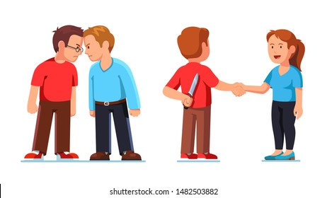Two mans standing clashing colliding heads in fight. Interpersonal relationship conflicts. Lies and deceit of dishonest person or insincere crooked con man. Flat vector character illustration set