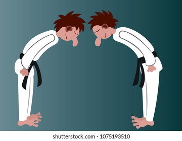two martial artist bow at one another before starting a match
