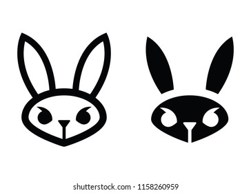 Two mean looking rabbit icons in vector format.