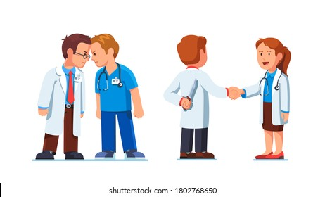 Two medical worker mans standing clashing colliding heads in fight. Interpersonal relationship conflicts. Lies and deceit of dishonest doctor person. Flat vector nurse character illustration set