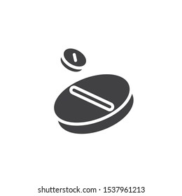 Two medicine tablets vector icon. filled flat sign for mobile concept and web design. Medication tablets glyph icon. Symbol, logo illustration. Vector graphics