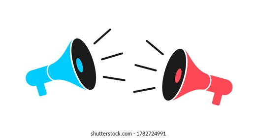 Two megaphones, speakers, loud speakers and loudspeaker are competing against each other - clash, conflict, battle, fight and duel. Vector illustration isolated on white.