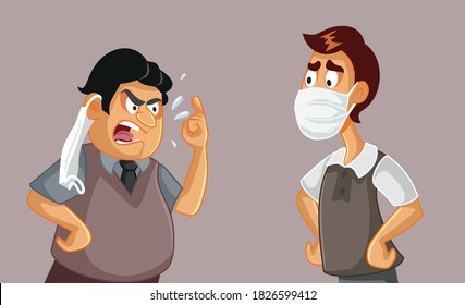 Two Men in an Argument Insulting Each Other. Virus denier fighting over mask usage and regulation