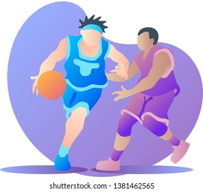 Two men basketball player versus