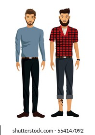 two men beards casual elegant look
