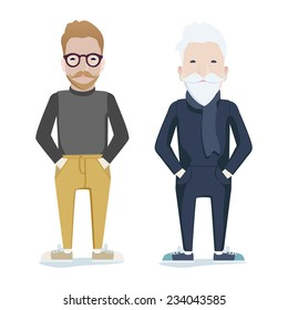 Two men with beards, one young wearing glasses, one old and grey-haired standing side by side conceptual of aging or father and son, vector illustration