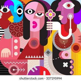 Two men and beautiful woman. The man gives one flower to a beautiful woman - modern art vector illustration. Abstract portrait. Couple looking at each other.
