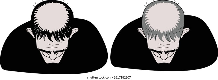 Two men in black clothes top view. Tonsura of a Catholic monk. Bald head and baldness. Vector humorous illustration.