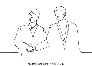 two men in business suits stand side by side and shake hands without looking at each other. one line drawing business partners handshake, silent agreement, informal agreement