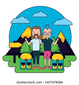 two men camping vacations landscape mountains vector illustration